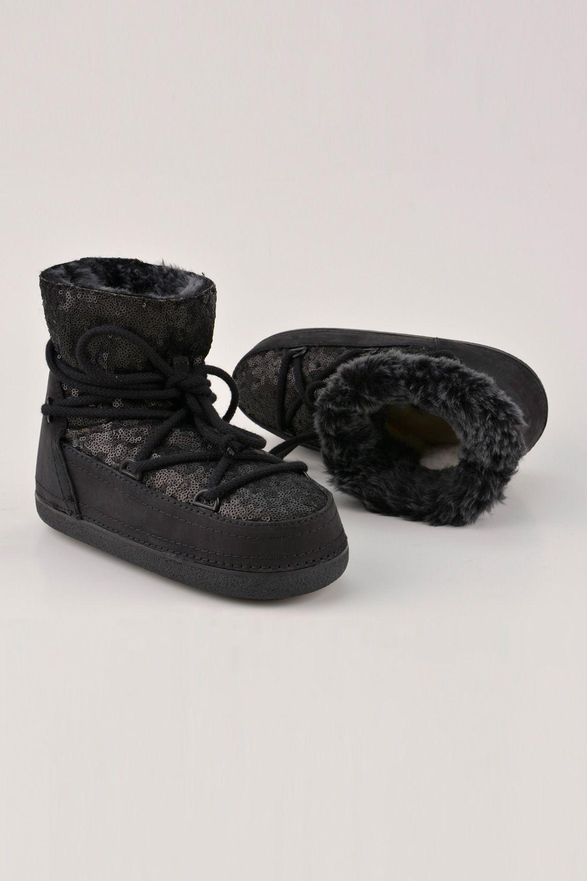 BYMN Hakiki Deri İçi Kürk Pullu Bayan Kar Botu B351004 Siyah