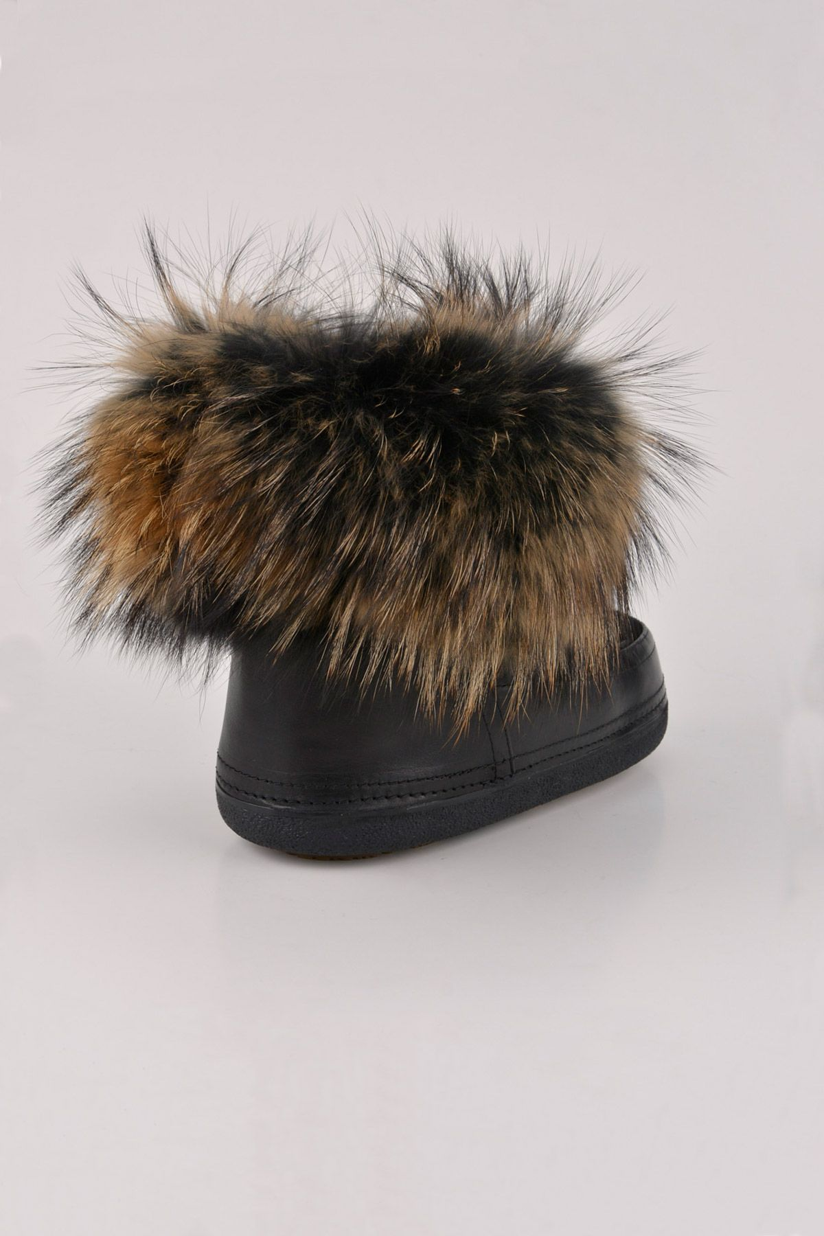 BYMN Flyffy Women Moonboots From Genuine Leather And Sheepskin Fur B351015 Black