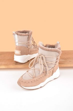 Pegia Laced Women Boots From Genuine Suede And Sheepskin P195011 Beige