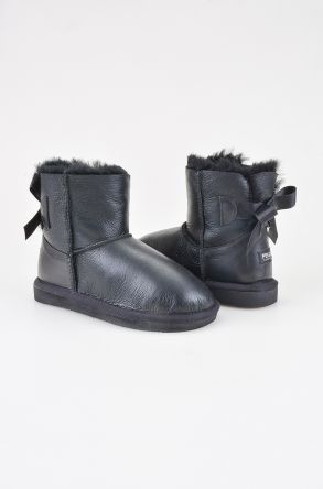 Pegia Kids From Genuine Suede And Sheepskin Fur With Bow 181063 Black