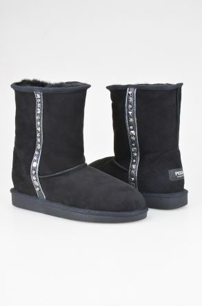 Pegia Women Boots From Genuine Leather And Sheepskin Fur With Stones 191023 Black