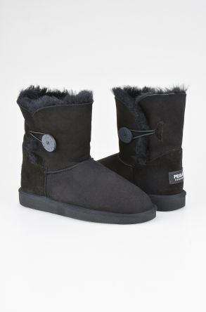 Pegia Women Boots From Genuine Suede And Sheepskin Fur Decorated With Snap Black