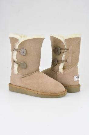 Pegia Women Boots From Genuine Suede And Sheepskin Fur Decorated With Snaps Sand-colored