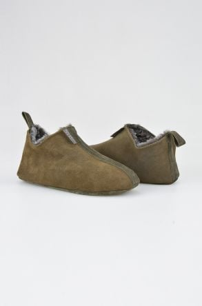Pegia Women House Shoes From Genuine Suede And Sheepskin Fur 191094 Khaki
