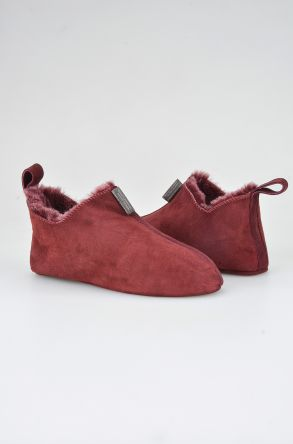 Pegia Women House Shoes From Genuine Suede And Sheepskin Fur 191094 Claret red