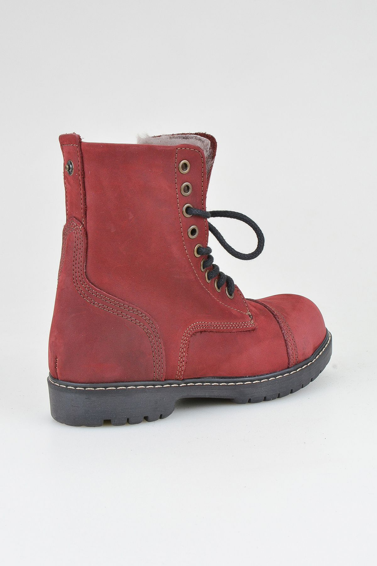 Pegia Laced Women Boots From Genuine Fur And Nubuck 500399 Claret red