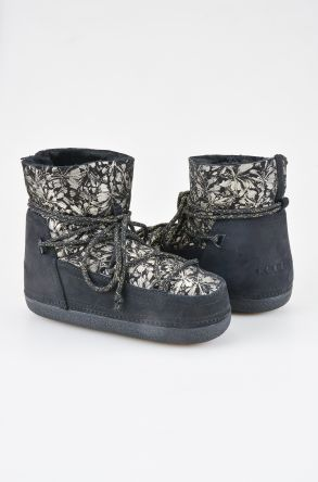 Cool Moon Women Moonboots From Genuine Sheepskin Fur With Flower Pattern 351002 Black