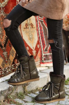 Pegia Laced Women Boots From Genuine Leather & Fur Green