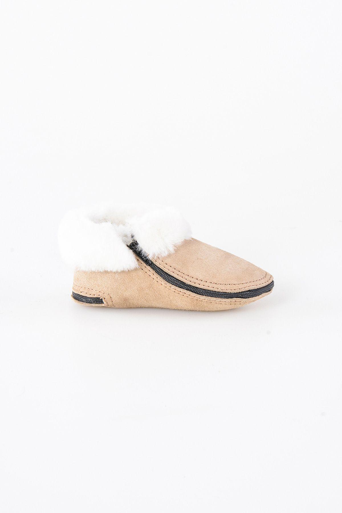 Pegia Hakiki Kürk Fermuarlı Çocuk Ev Ayakkabısı 990308 Bej