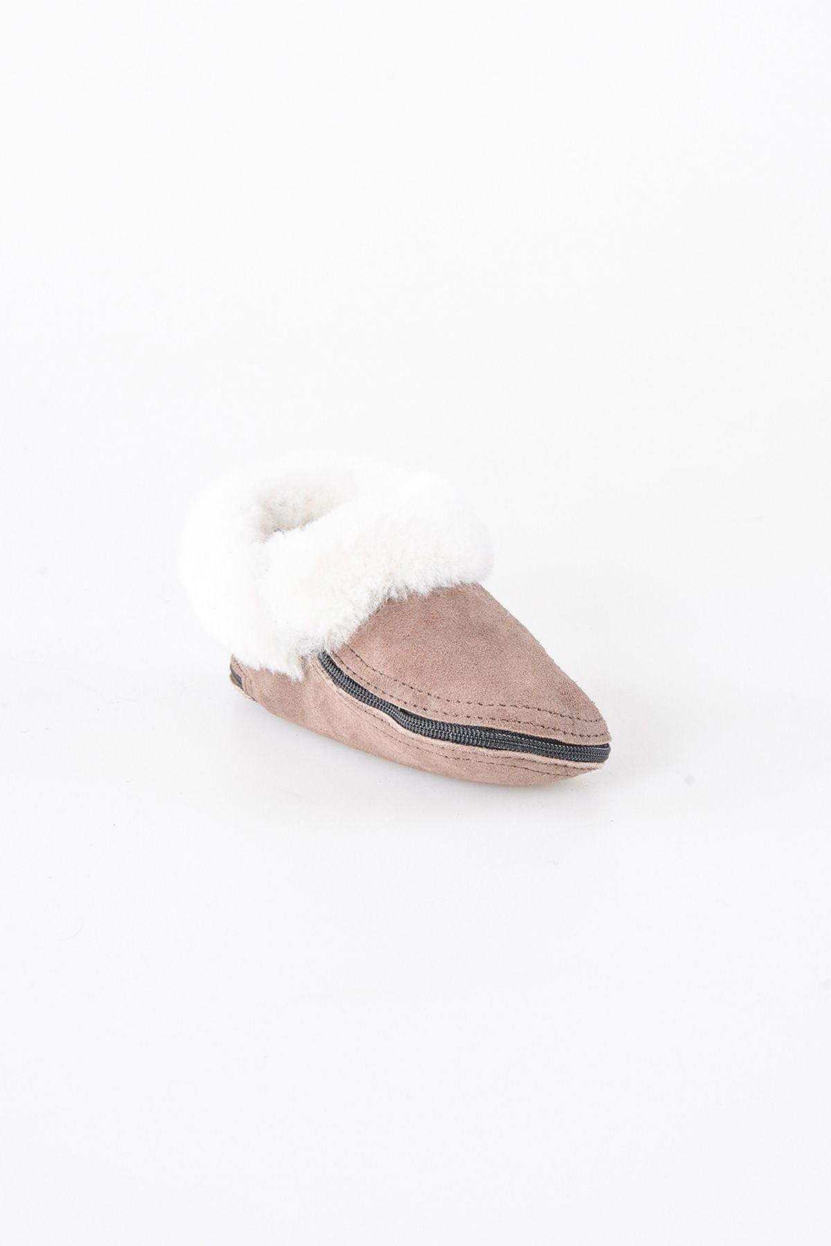 Pegia Hakiki Kürk Fermuarlı Çocuk Ev Ayakkabısı 990308 Vizon
