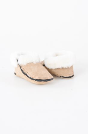 Pegia Shearling Kids' House Shoes With A Zip 990308 Beige