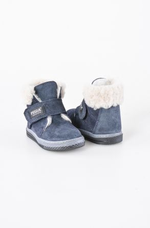 Pegia Shearling Baby's Boots 186004 Navy blue