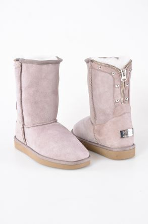 Pegia Zipped Women Boots From Genuine Suede And Sheepskin Fur Powdery