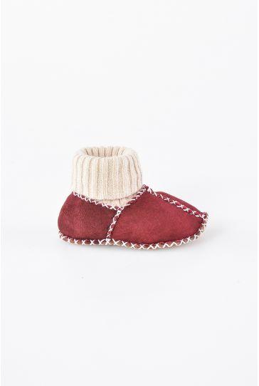 Pegia Hakiki Kürklü Çoraplı Bebek Patiği 141006 Bordo