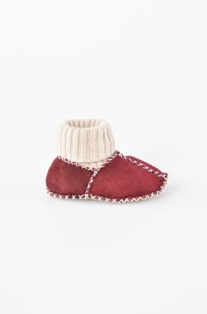 Pegia Kids Booties From Genuine Fur Claret red