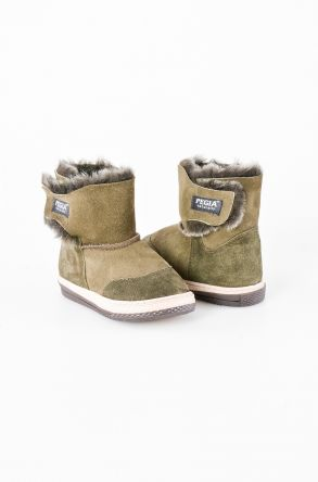 Pegia Kids Boots From Genuine Suede And Sheepskin Fur With Touch Fastener 186007 Khaki