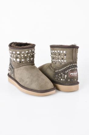 Pegia Women Boots From Genuine Suede And Sheepskin Fur Decorated With Stones 191071 Khaki