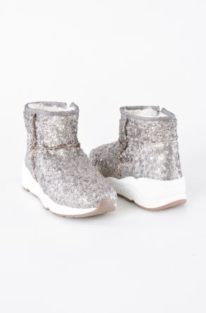Pegia Short Shearling Women's Boots With A Zip & Sequins 157411 Gray