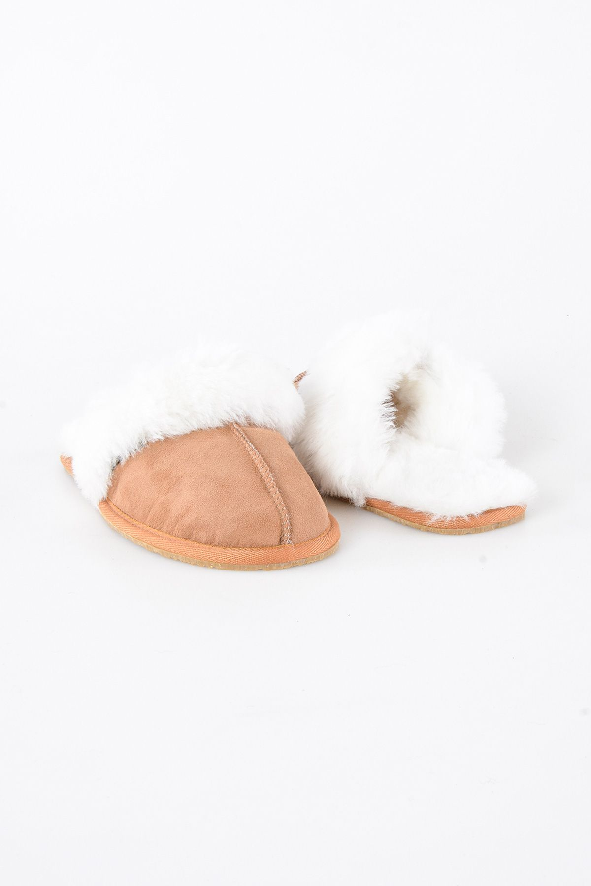Pegia Women House Slippers From Genuine Suede And Sheepskin Ginger
