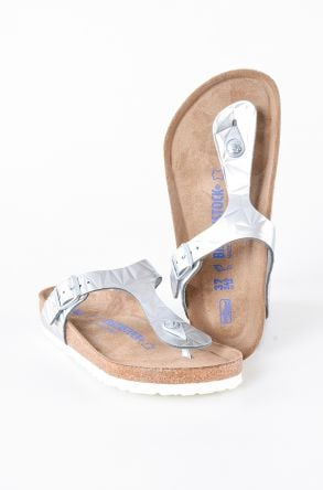 Birkenstock Gizeh BS Genuine Leather Women's Summer Slippers 1008463 Silver