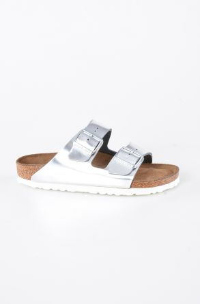 Birkenstock Arizona BS Genuine Leather Women's Summer Slippers 1005961 Silver