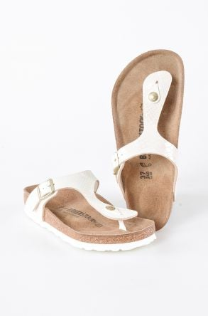 Birkenstock Gizeh BS Genuine Leather Women's Summer Slippers 0847431 Cream