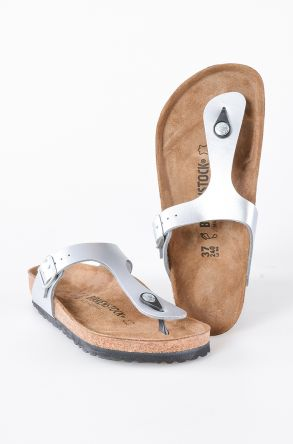 Birkenstock Gizeh BS Genuine Leather Women's Summer Slippers 0043851 Silver