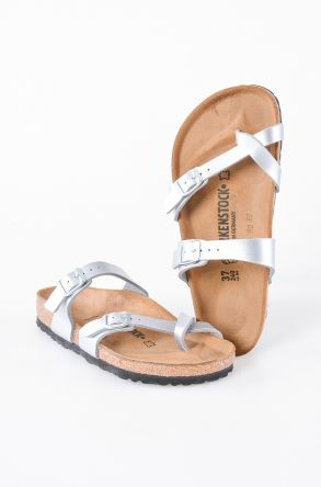 Birkenstock Mayari Genuine Leather Women's Summer Slippers 007081 Silver