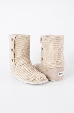 Pegia Женская Домашняя Обувь Из Натуральной Замши С Плетеным Узором 191098 Бежевый