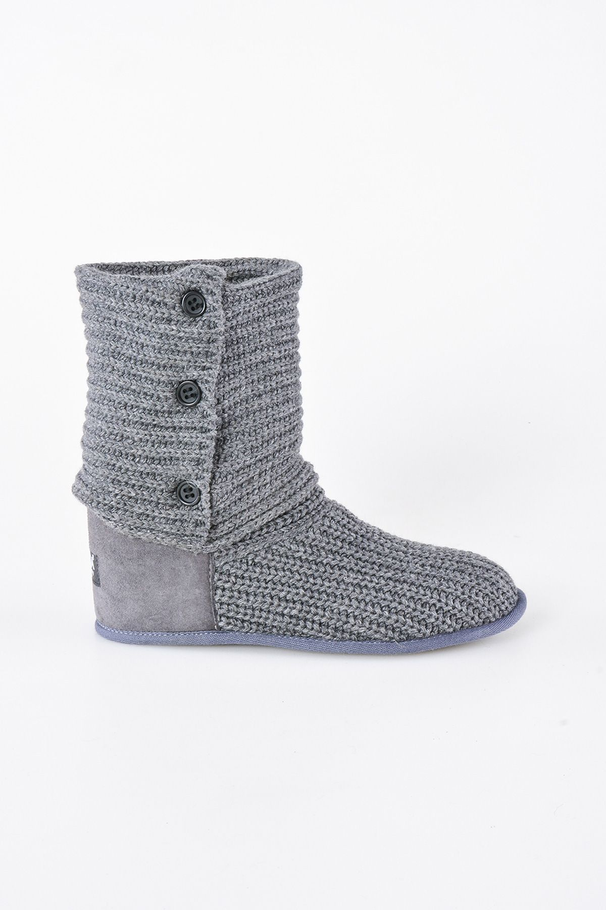 Pegia Women's Home Shoes From Genuine Suede With Braided Pattern 191098 Gray