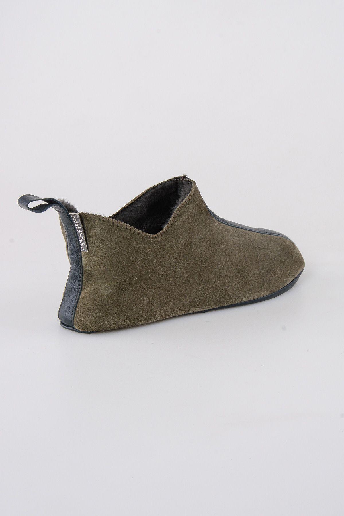 Pegia Hakiki Kürklü  Erkek Ev Ayakkabısı 111008 Haki
