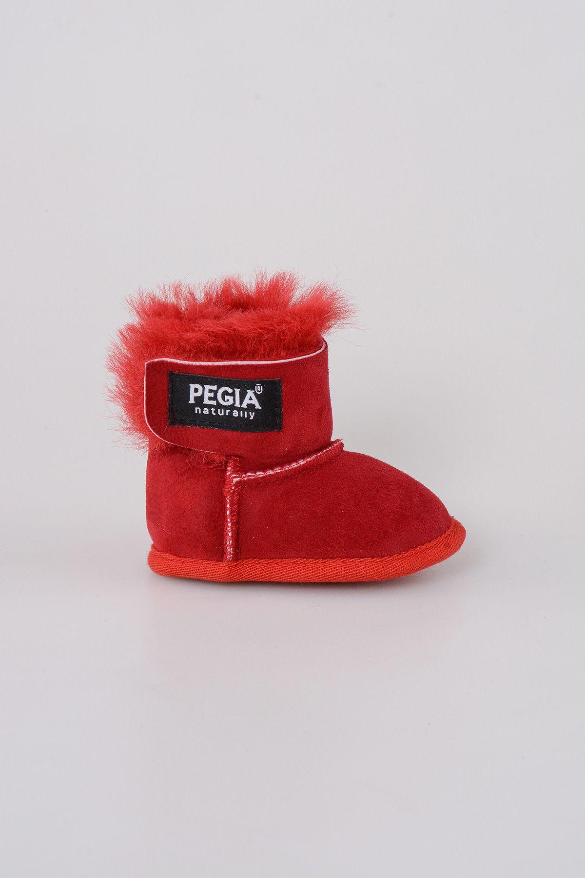Pegia Hakiki Kürk Bebek Patiği 143005 Kırmızı