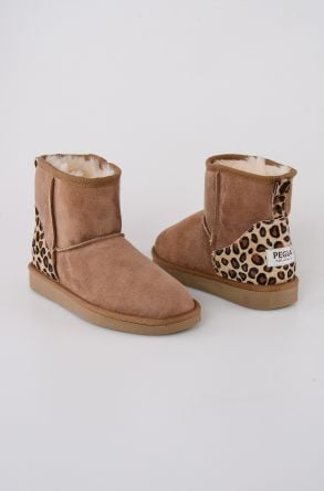 Pegia Short Women Boots From Genuine Suede With Leopard Pattern 191026 Sand-colored