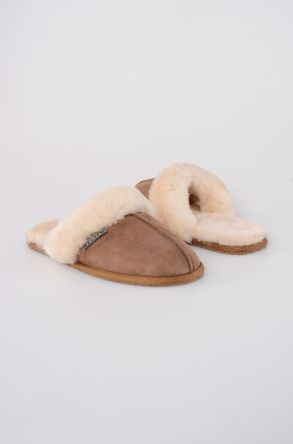 Pegia Women House Slippers From Genuine Suede And Sheepskin Sand-colored