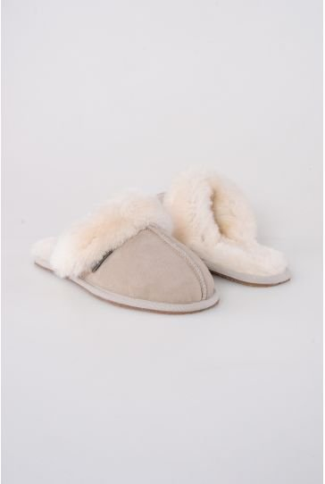 Pegia Women House Slippers From Genuine Suede And Sheepskin Beige