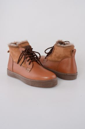 Pegia Laced Men Shoes From Genuine Leather And Sheepskin Ginger