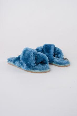 Pegia Женская Домашняя Обувь Из Натурального Овечьего Меха 191096 Голубой