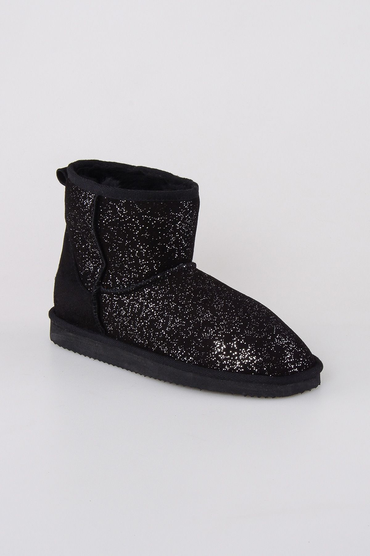 Pegia Short Women Boots From Genuine Sheepskin Fur With Galaxy Sequins 191029 Black