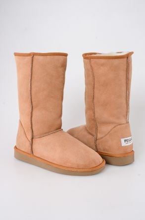 Pegia Long Genuine Suede & Shearling Women's Boots 191001 Ginger