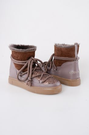 Cool Moon Genuine Shearling Women's Sneakers With Sequins 355004 Visone