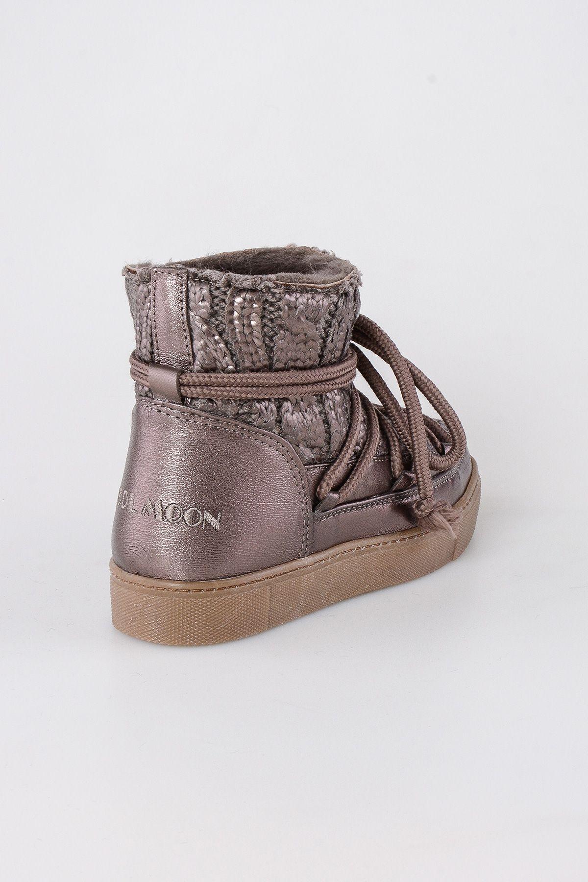 Cool Moon Hakiki Kürk Örgülü Bayan Sneaker 355006 Altın