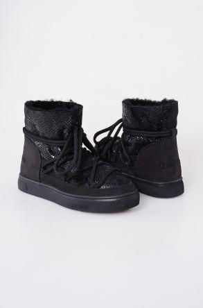 Cool Moon Hakiki Kürk Yılan Desen Bayan Sneaker 355012 Siyah