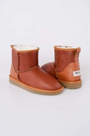 Pegia Short Women Boots From Genuine Leather And Sheepskin Fur 191022 Ginger