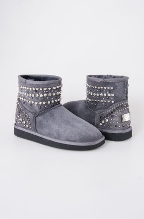 Pegia Women Boots From Genuine Suede And Sheepskin Fur Decorated With Stones 191071 Gray
