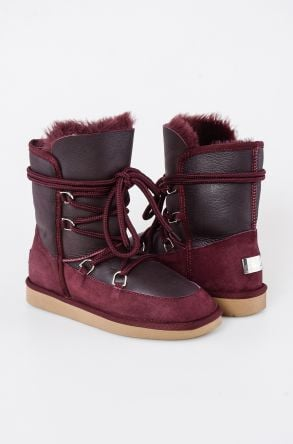 Pegia Shoelaced Genuine Leather & Shearling Women's Boots 191080 Claret red