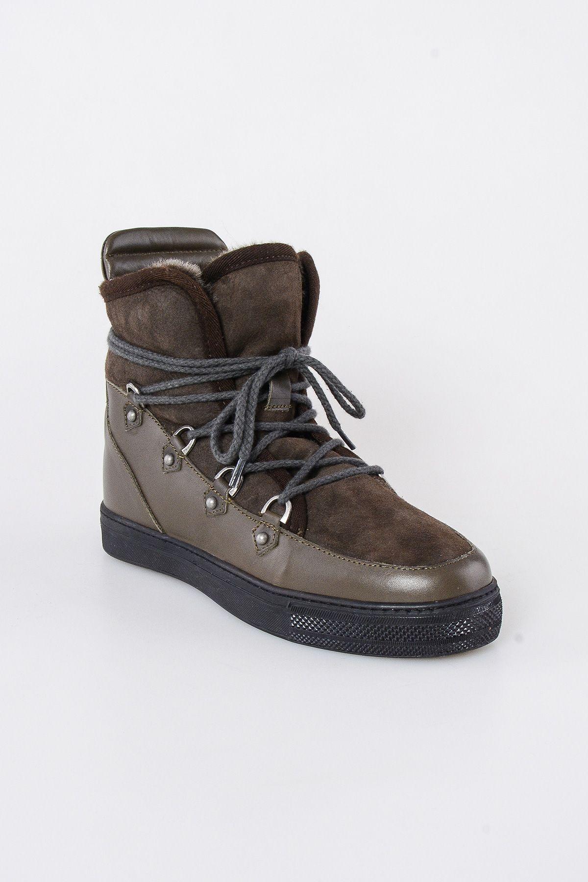 Pegia Hakiki  Kürk Bağıcıklı Erkek Sneaker 203503 Haki