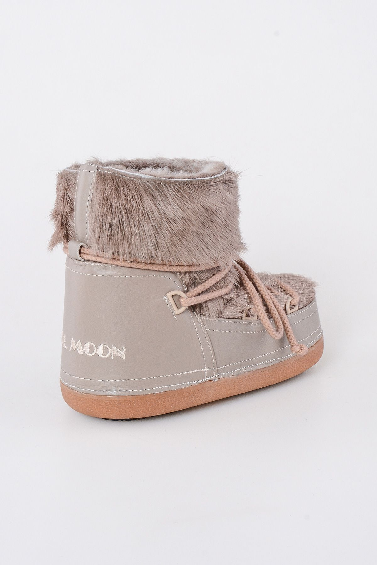 Cool Moon Moonboots From Genuine Sheepskin With Toscana Fur Beige