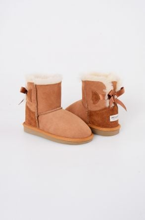 Pegia Kids Boots From Genuine Suede And Sheepskin Fur With Bow Ginger