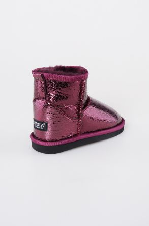 Pegia Genuine Shearling Kids' Boots With Pattern 181017 Claret red