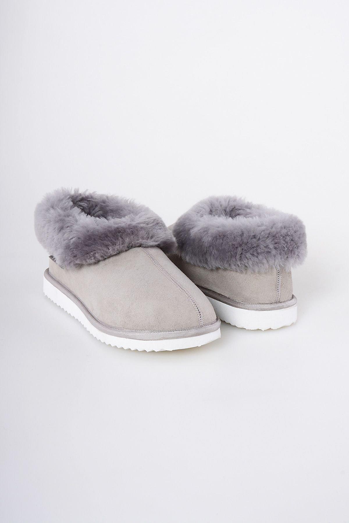 Pegia Genuine Suede & Shealing Women's House Shoes 191100 Gray